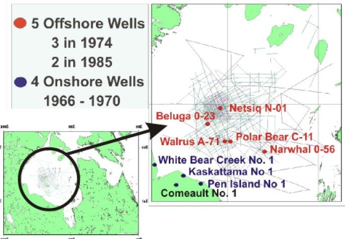 Image showing historical seismic coverage and well locations in the Hudson Bay Basin.