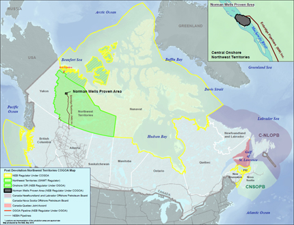 Figure 1 - Map of Lands Having NEB Jurisdiction Over Oil and Gas Activities