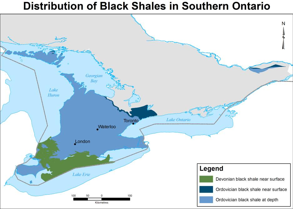 Figure 1: Map of the black shale deposits in southern Ontario.