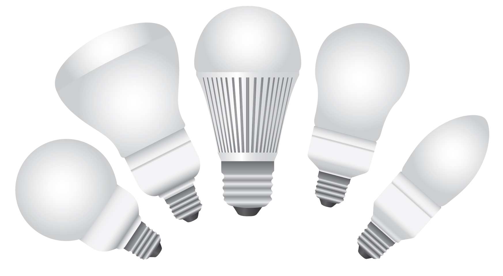 Group of light bulb shapes