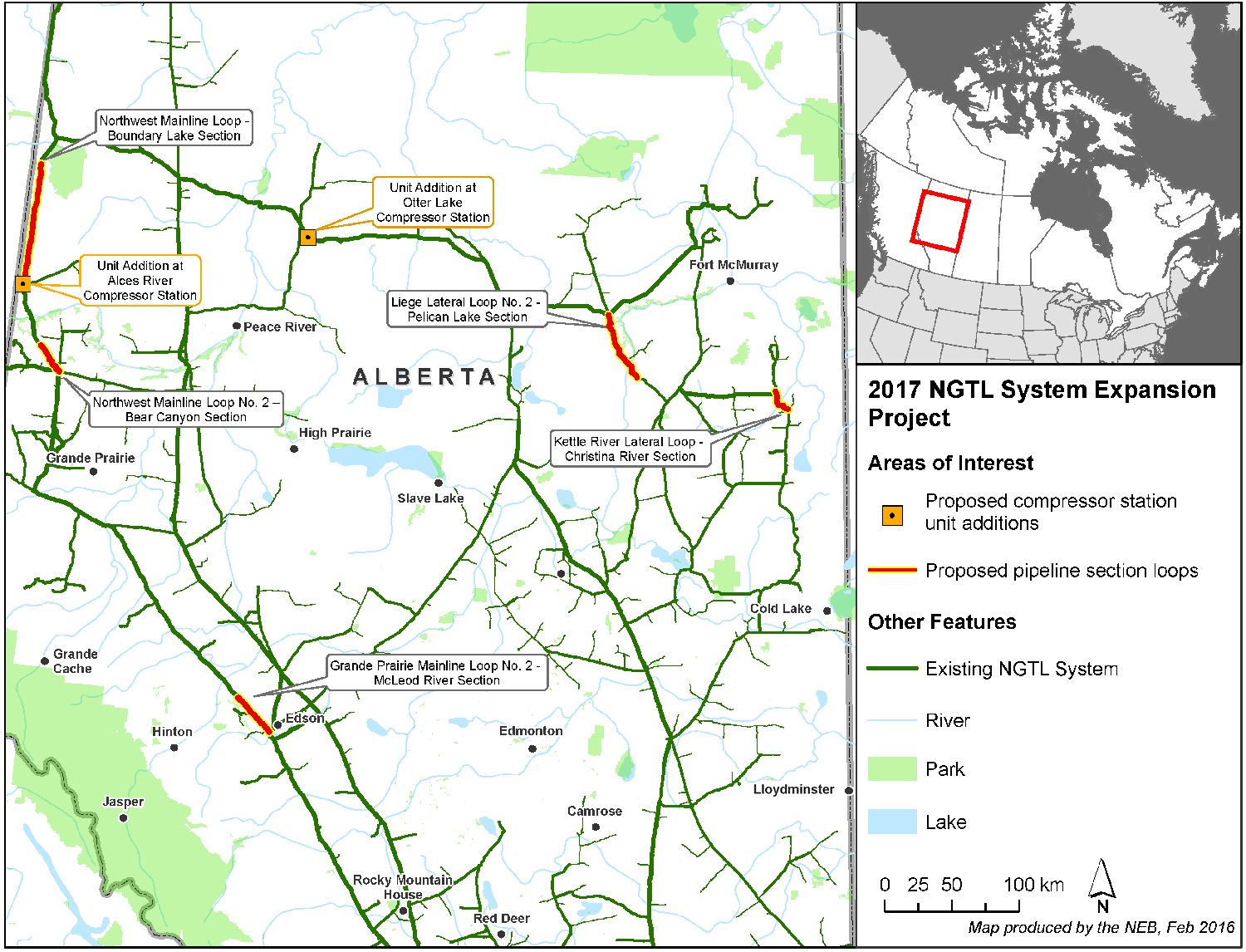 2017 Map of NOVA Gas Transmission Ltd. (NGTL) System Expansion Project.