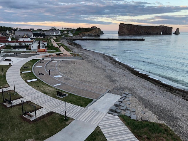 photograph of Percé's restored and resilient shoreline