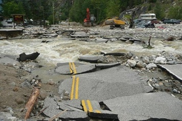 Photo of a 2012 highway wash out in Sicamous, B.C. Photo credit: BC Ministry of Transport (Creative Commons)