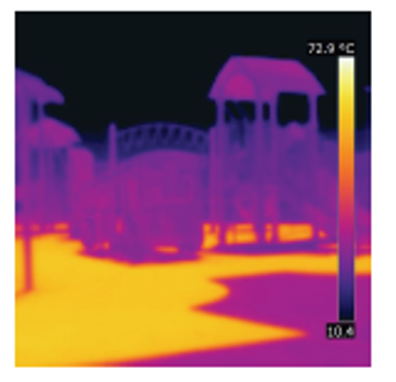 Thermal imaging of Windsor's Captain John Wilson Park shows the temperature of the dark rubber mat under the play structure (yellow area) is 71.6°C. Photo credit: City of Windsor
