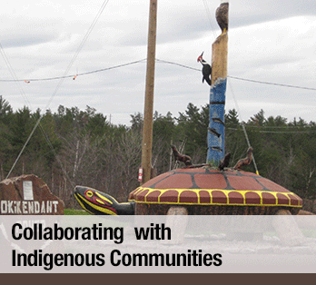 A totem pole in front of a line of trees - Collaborating with Indigenous Communities