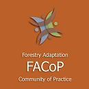 "Image above showing superimposed curved lines with a dot that symbolize a circle of people with text below ""Forestry Adaptation Community of Practice FACoP""."