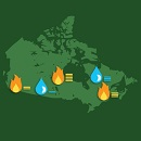Image showing a map of Canada with icons of a forest fire and a rain drop positioned in the west, centre and east of the map. Next to the icons are horizontal bars suggesting future trends.