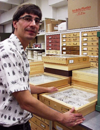 NoFC researcher Greg Pohl holds one of hundreds of cases containing various samples of Arthropods found in western Canada. (Photo: Greg Pohl)