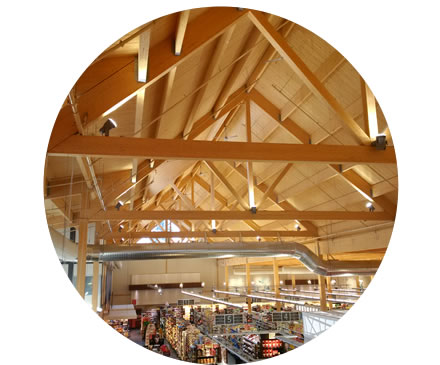 Large wood ceiling trusses in low-rise building