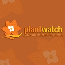 "Image showing a background with a flowery pattern. The foreground shows an icon of a flower and the text: ""PlantWatch – Engaging citizens in science""."