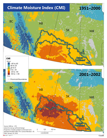 Figure 1 – Two maps, one showing the mean Climate Moisture Index drought in the aspen parkland between 1951 and 2000, and the other map showing the 2001–2002 drought in the same region.