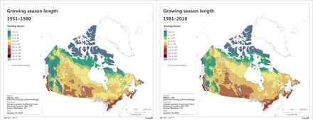 Two maps showing growing season length (days) in Canada, one  between 1951 and 1980, and the other between 1981 and 2010