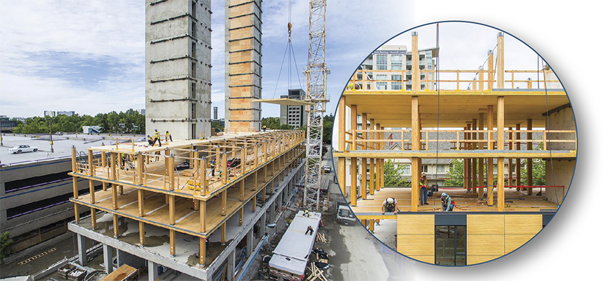 The 18-storey wood building under construction at the University of British Columbia, in Vancouver. Photo credit: naturallywood.com, photographer: KK Law.