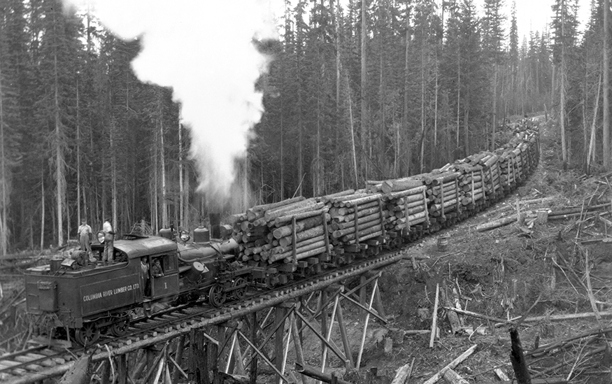 An historical black and white photo of a steam engine on a trestle bridge pushing train cars full of logs up a steep grade through a forest.