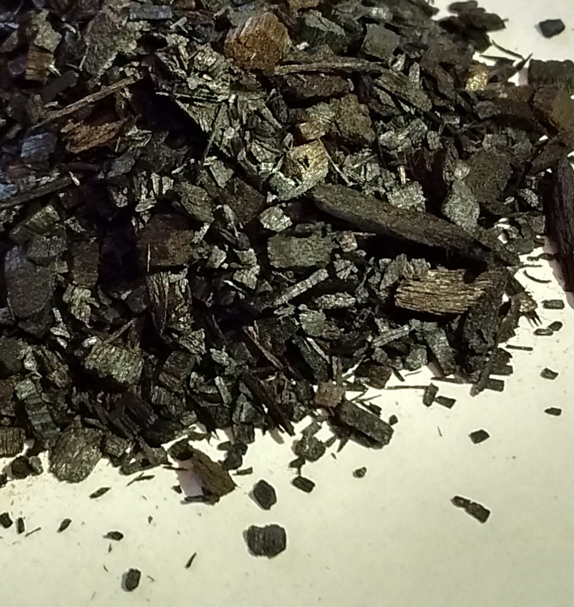 Photo of biochar wood chips.