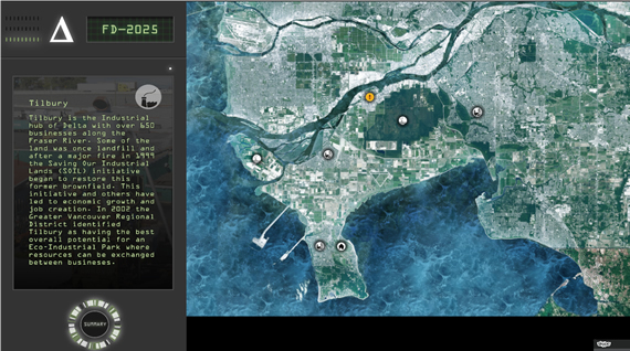 Screenshot of the Future Delta 2.0 computer game showing an aerial map and explanatory text (not visible at this resolution).
