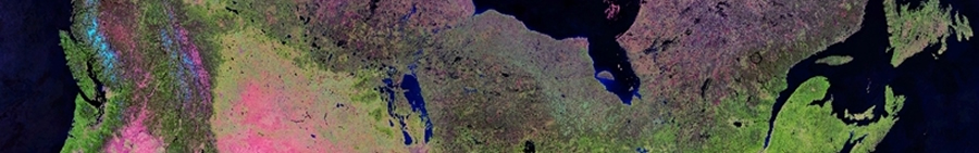 Composite satellite image of Canada at 250-metre resolution from Vancouver Island to Newfoundland on dark background