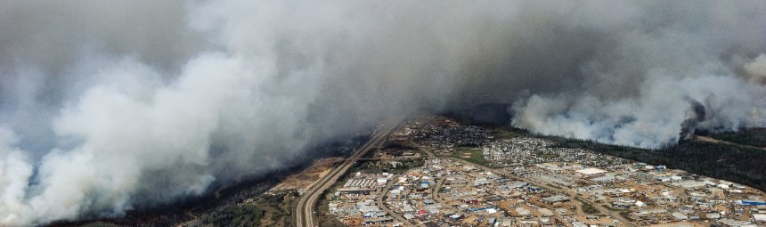 Aerial photo of the wildfires in Alberta.