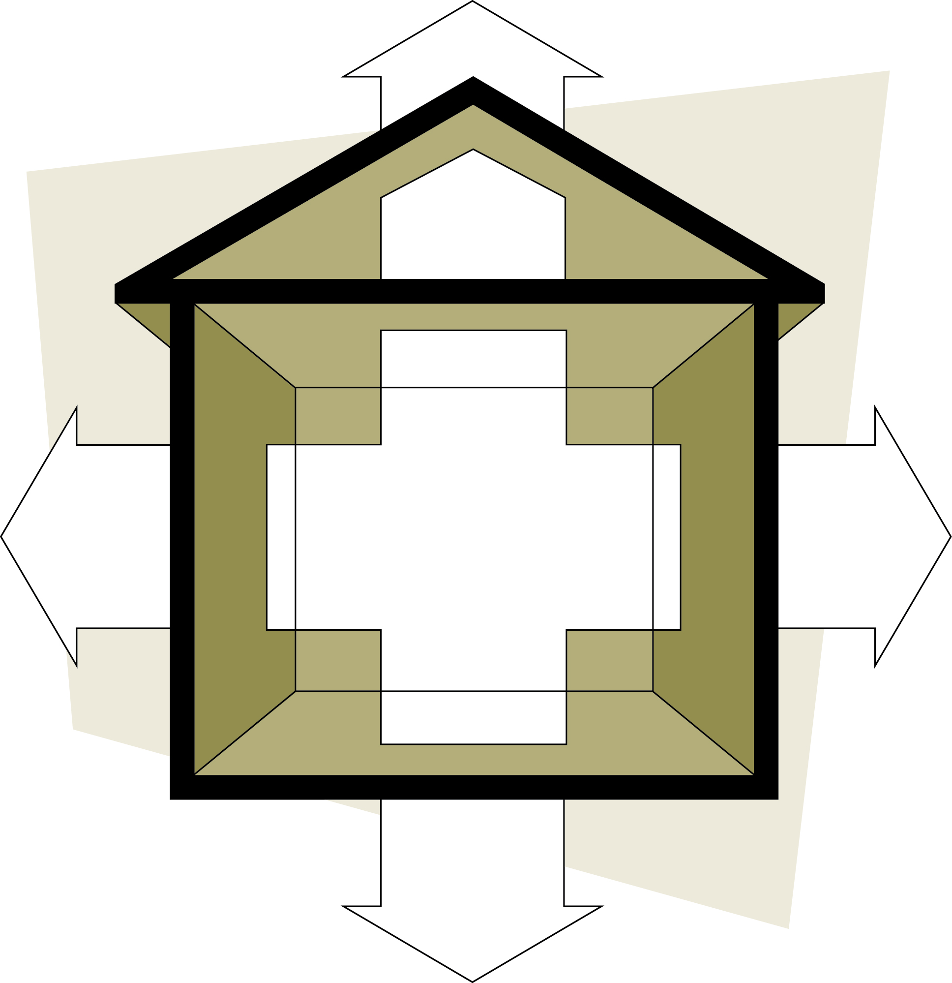 Figure 2-1 Heat moves out of a house in all directions