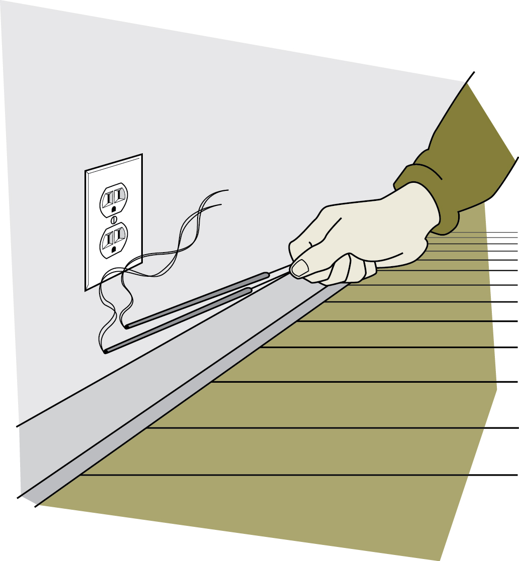 Illustration of a hand holding two burning incense sticks next to an electrical outlet with smoke drifting away from the outlet.