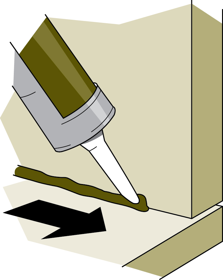 Figure 4-4 How to lay a bead of caulking.