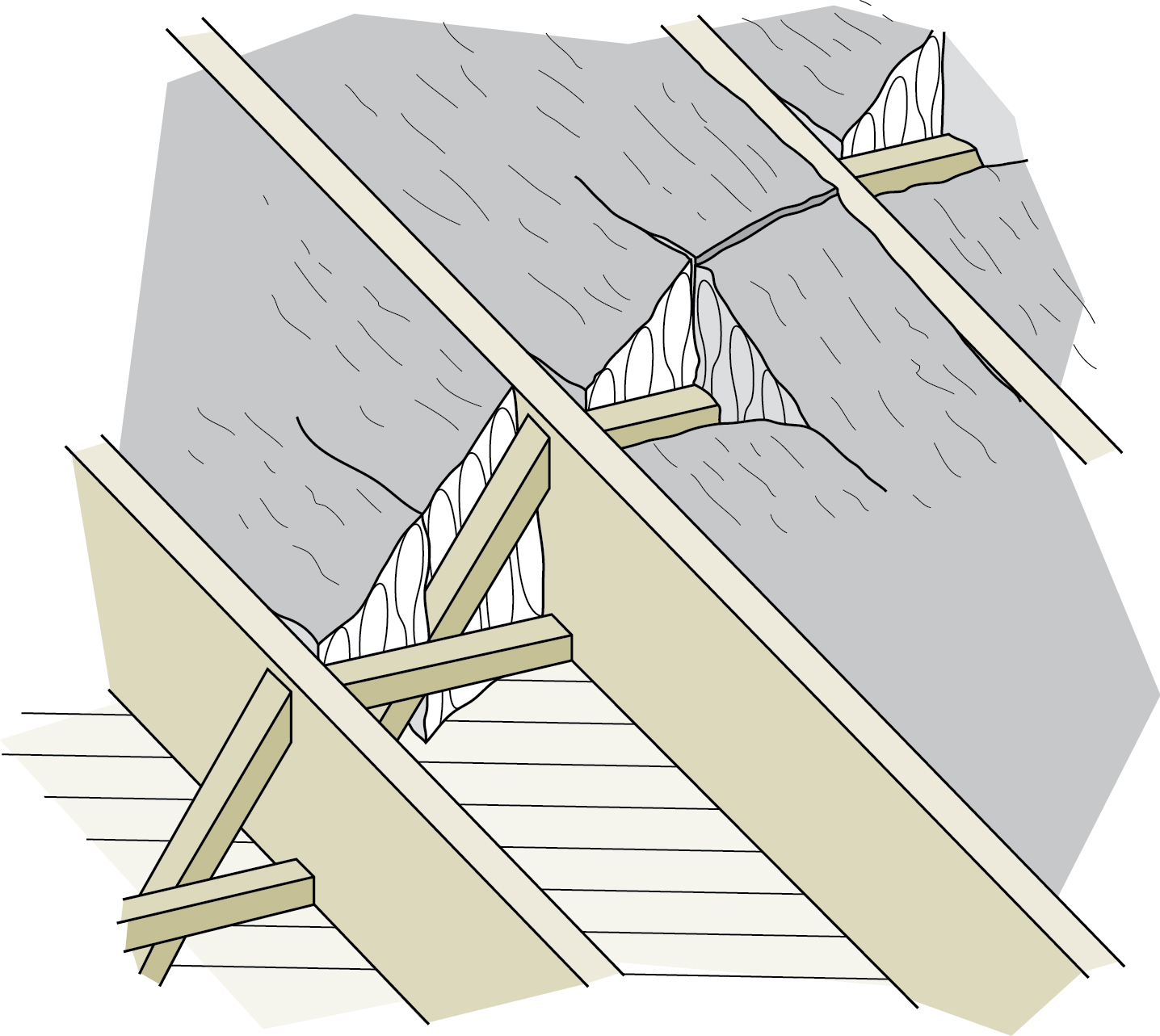 Figure 5-12 Fitting insulation around cross bracing