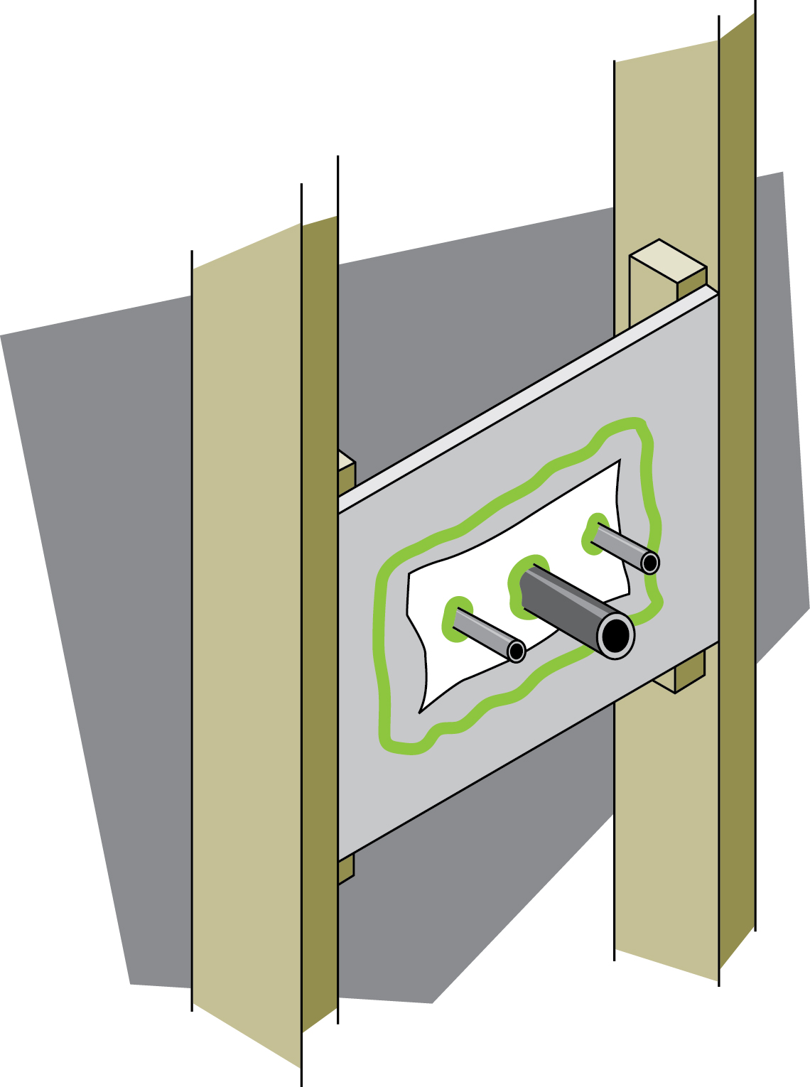 Keeping The Heat In Chapter 6 Basement Insulation Natural Exposed Wiring Ceiling Figure 16 Sealed Plumbing Penetrations