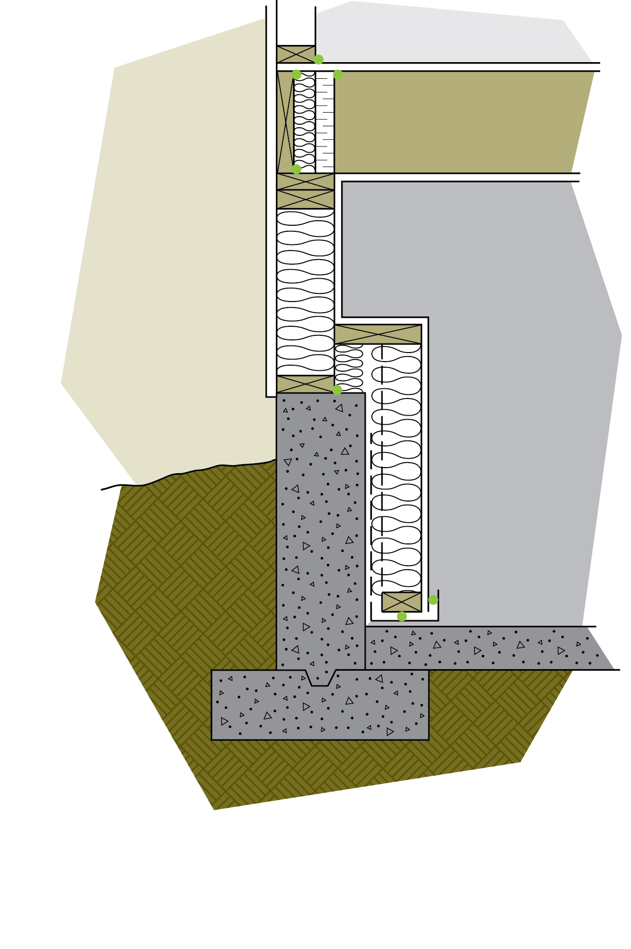 Figure 6-20 Insulating a pony wall is a two-step process that creates a small ledge