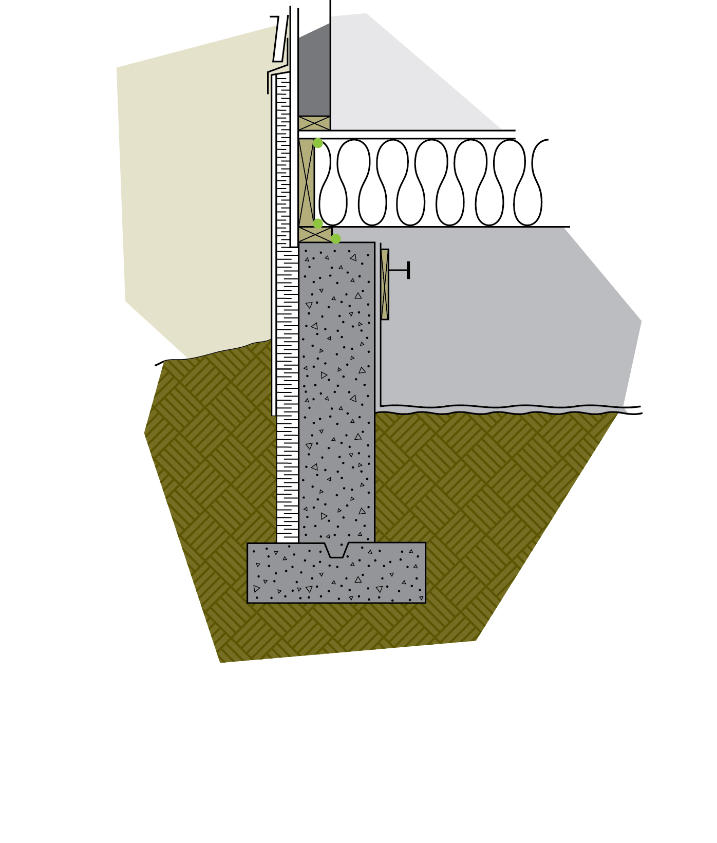 Figure 6-23 Insulation on the walls and in the floor creates a partially heated crawl space