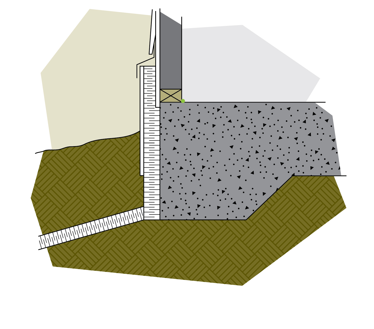 figure 6-24 Sloped rigid insulation buried in the soil provides frost protection to the slab-on-grade