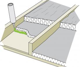 Figure 5-10 Foam board laid between the joists and caulked as an air and vapour barrier