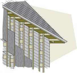 Figure 7-10 Trusses can be hung from the rafters and nailed to the existing wall