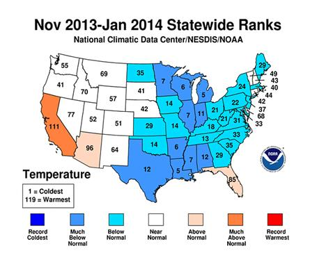 Figure 6.5: U.S. November 2013-January 2014 Temperature Climate Data