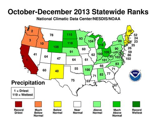 Figure 6.6: Map of United States Indicating Precipitation during Autumn 2013