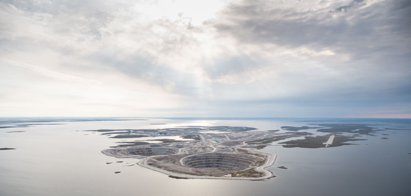 Aerial photo of Diavik Mine