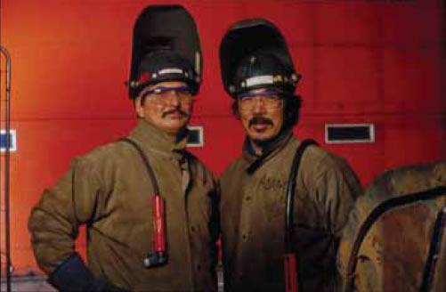Two Aboriginal workers of the Raglan mine