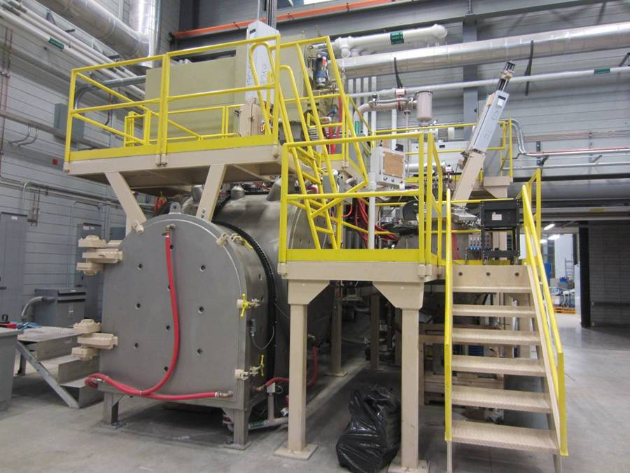A piece of casting equipment called a vacuum induction furnace.