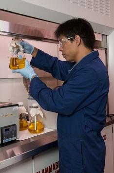 Man conducting research in a laboratory.