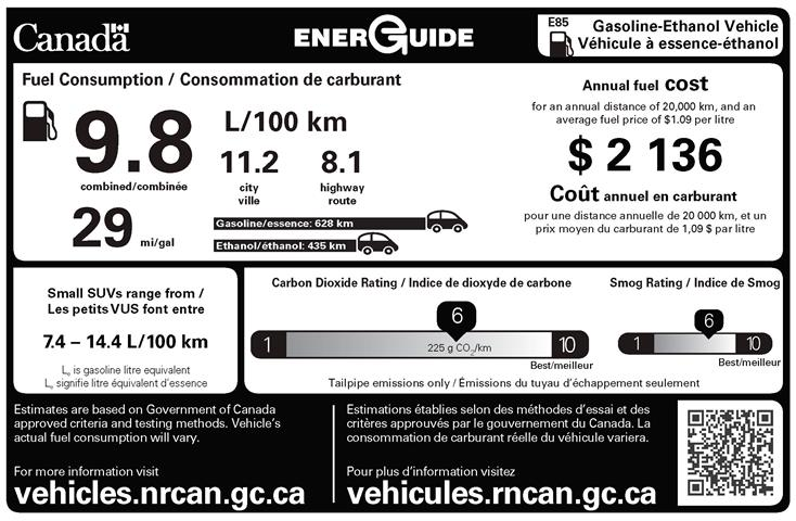 Sample EnerGuide label for a flexible-fuel  vehicle