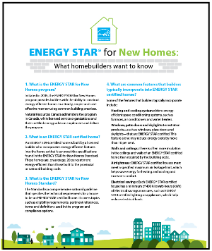 ENERGY STAR for New Homes Frequently asked questions
