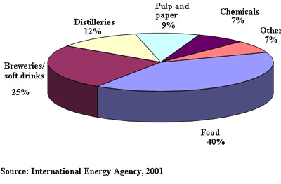 Breakdown of industrial anaerobic treatment facilities in Europe