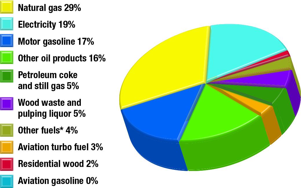 Secondary energy use by fuel type, 2013