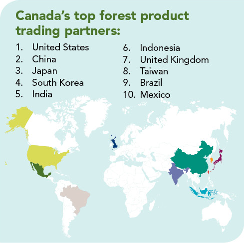Map Locating Canada's top forest trading partners