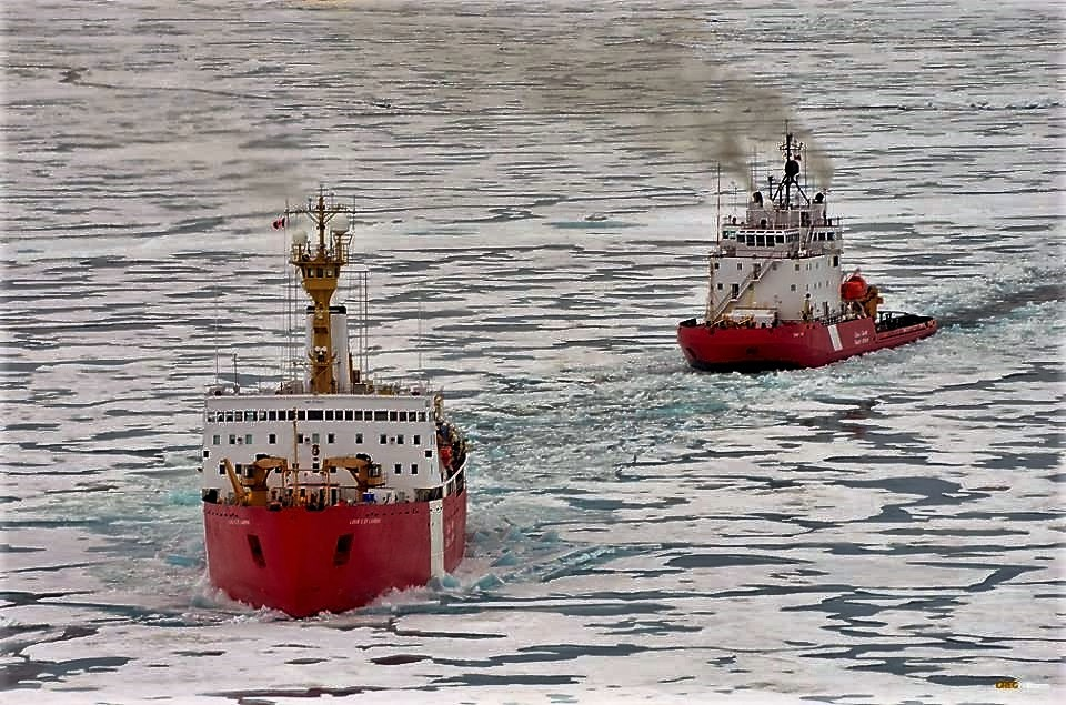 Canadian Coast Guard Ship (CCGS) Louis S. St-Laurent and CCGS Terry Fox in the Arctic Ocean.