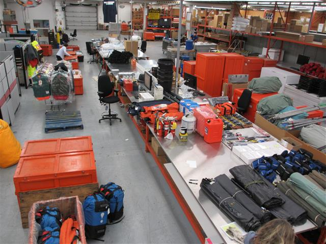 This image shows field equipment being prepared for shipping at the PCSP Ottawa logistics hub.