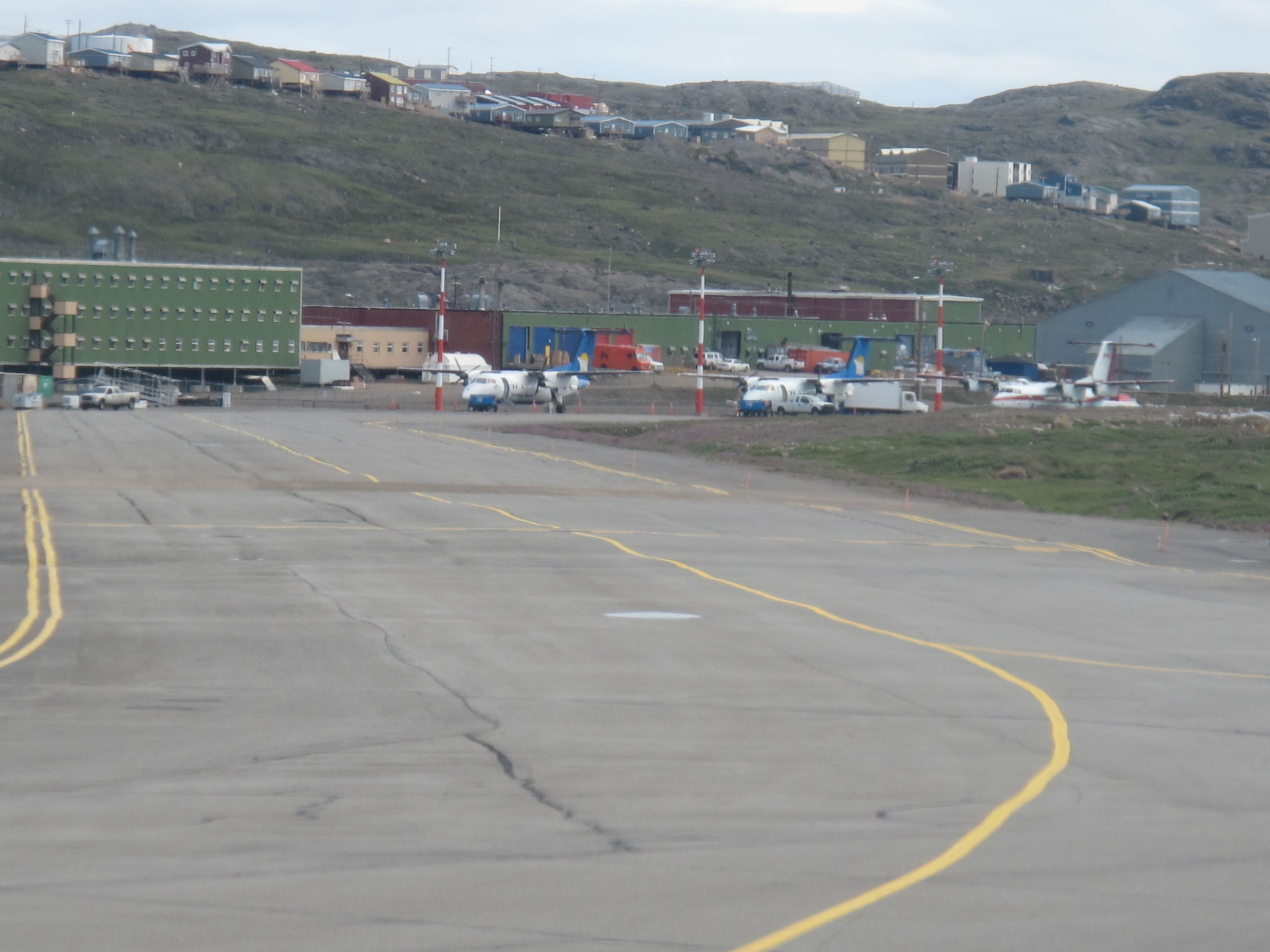 Image showing damage caused by permafrost thaw at the Iqaluit International Airport