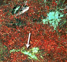 Crops damaged by tornado (lower centre)